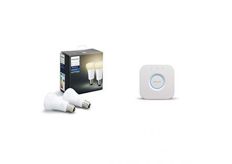 Philips Hue Pack de 2 ampoules connectées White Ambiance E27 - Fonctionne avec Alexa