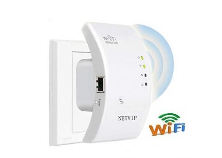 NETVIP Répéteur WiFi Longue portee Extenseur sans Fil Amplificateur Mini Point daccès Internet De Signal, Port Ethernet, Ins