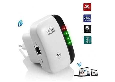 Aigital Répéteur WiFi 300Mbps Point daccès Wi-FI Extenseur sans Fil Amplificateur de Signal Compatibilité Universelle,1 Port