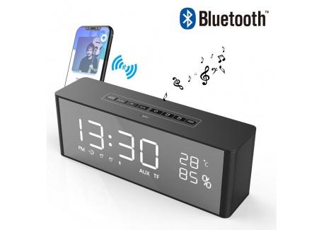 Radio Réveil Bluetooth Haut-Parleur Son Surround 360° Enceinte Bluetooth à LED Luminosité Réglable Affichage pour lHeure/Éle