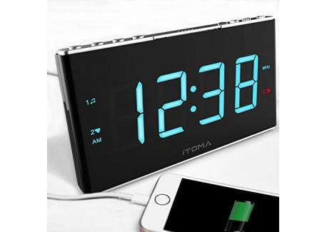 iTOMA Radio Réveil avec Radio FM numérique, Bluetooth, Double Alarme, réglage Automatique de lheure, Port de Charge USB, ent