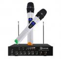 Microphone Sans Fil, EIVOTOR Micro Professionnel Portable 2 Micro Sans Fil à Main + 1 Récepteur Set VHF pour Karaoké, Fête, C