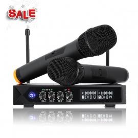 Karaoke Micro sans fil Bluetooth 4.1, LESHP S9-UHF Microphone sans fil Professionnel Système Karaoké Portable avec 2 Micropho
