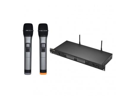 ammoon Microphone Professionnel UHF Sans Fil Système de Micro Dual Canaux Récepteur avec Écran LCD 2 Microphones PDA 6,35 mm