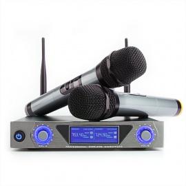 Microphone Sans Fil Micro Sans Fil UHF Micro HF Karaoké Système de Microphone LCD Récepteur 2 Canaux Micro Pratique 2 Microph