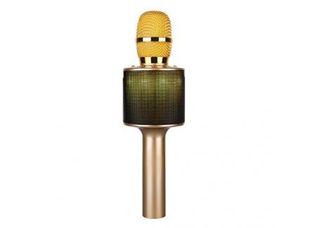 Microphone bluetooth sans fil ,Multi-fonction micro karaoke avec des lumières clignotantes Or de luxe