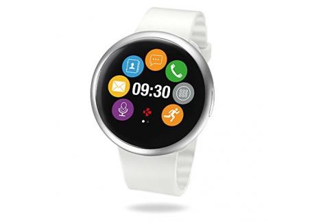 MyKronoz ZeRound2 Smartwatch avec écran couleur tactile, microphone et haut-parleur intégré – Argenté / Blanc