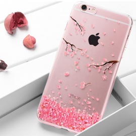 Coque iPhone 6/6S Silicone Fleurs de Cerisier Roses Etui de Protection Paillette Bling Diamant Strass Brillante