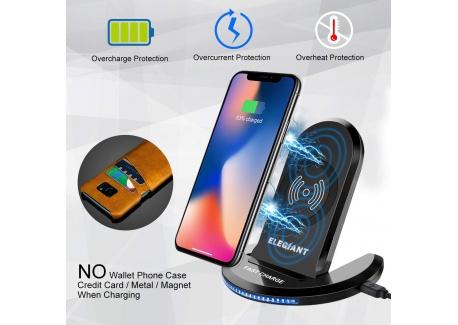 ChargeursansFil,ELEGIANT Chargeur à Induction Pliable Station de Rechargement Rapide pour IPhone 8 /8plus /X Samsung Gala