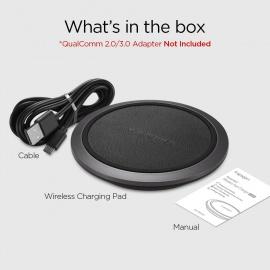 Chargeur Rapide sans Fil en Cuir, [Rapide iOS 7.5W / Android 10W] Compatible avec Téléphone Chargement