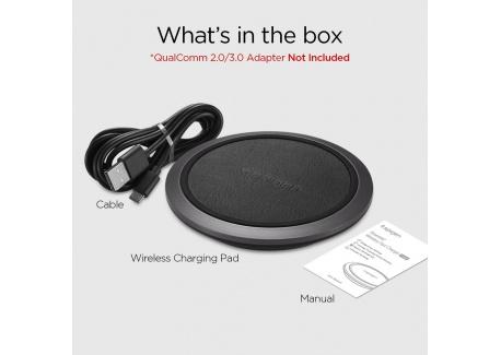 Spigen Essential F308W Chargeur Rapide sans Fil en Cuir, [Rapide iOS 7.5W / Android 10W] Compatible avec Téléphone Chargement