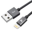 Rampow RAMPOW03 [MFI certifié Apple] Câble Lightning vers USB en Fibre de Nylon Tressé - Chargeur iPhone - Gris Sidéral 1M [N