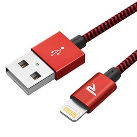 Rampow RAMPOW07 - [MFI certifié Apple] Câble Lightning vers USB en Fibre de Nylon Tressé - Chargeur iPhone - Rouge 1m/3.3ft [
