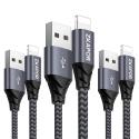 Câble Phone, ZKAPOR [Lot de 3, 1m 2m 3m] Câble Chargeur vers USB en Nylon Tressé pour Phone 8/ 8Plus/ 7/ 7Plus/ 6s/ 6sPlus/ 6
