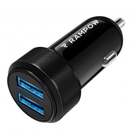 Rampow Chargeur Voiture USB Garantie à Vie - Chargeur Allume Cigare USB Ultra Compact 2 Ports 4.8A/24W pour iPhone X/8/7/6, i