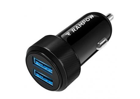 Rampow Chargeur Voiture USB Garantie à Vie - Chargeur Allume Cigare USB Ultra Compact 2 Ports 4.8A/24W pour iPhone X/8/7/6, i