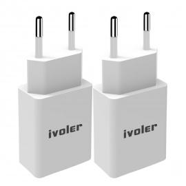 iVoler [Lot de 2] Original Set 2en1: Chargeur Slim Version Adaptateur 1A + Câble USB de Charge  1m , pour iPhone, iPad, Andro