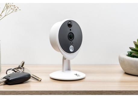 Kiwatch Caméra de Surveillance intérieure Full HD, Wifi, Grand Angle 120°, Vision Infrarouge, Sirène, Microphone, Haut-Parleu