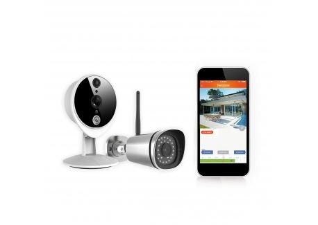 Kit Caméras Surveillance Intelligentes Kiwatch avec 1 intérieure + 1 Extérieure, Full HD, WiFi, Vision Infrarouge, Détecteur