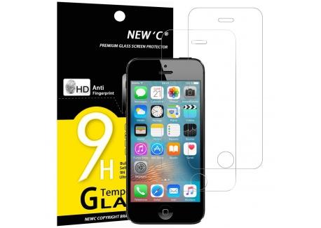 NEWC Verre Trempé pour iPhone 5,5S,Se,5C,[Pack de 2] Film Protection écran - Anti Rayures - sans Bulles dair -Ultra Résista