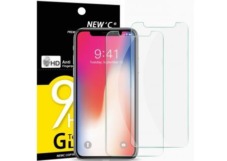 NEWC Verre Trempé pour iPhone X, iPhone XS,[Pack de 2] Film Protection écran - Anti Rayures - sans Bulles dair -Ultra Résis