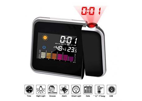 Hangrui Réveil Projecteur de lHeure et Température Intérieure/Extérieure Houzetek Réveil Projection Plafond, Horloge Numeriq