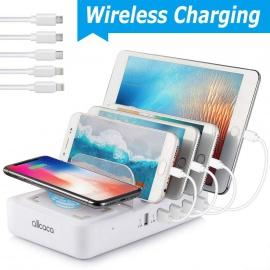 allcaca Station de Charge avec commutateur Chargeur USB Multiples 5 Ports avec 1 Charge à Induction sans Fil Chargeurs de Bur