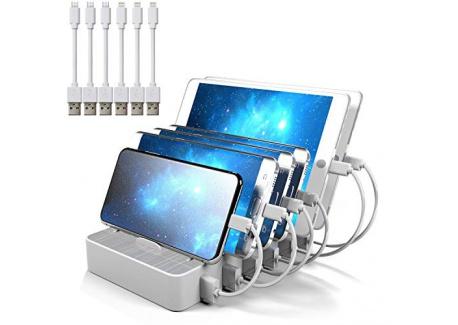 JZBRAIN Station de Charge 6 USB Chargeur Multi USB Ports avec Interrupteur, Station de Recharge Chargeur USB Multiple Support
