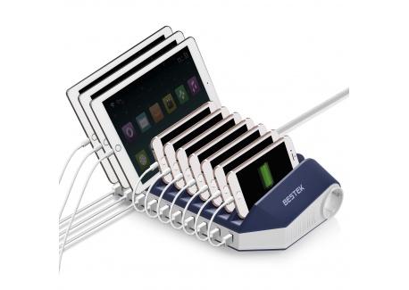 BESTEK Quick Charge 3.0 Station de Charge USB Multiple 66W 10 Ports USB Chargeur avec 2 Prises daccueil Station daccueil po