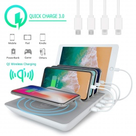 Station de Charge, KidsHobby Station de rechargement avec stations daccueil USB à 4 ports pour Android Apple iPhone iPad Sam
