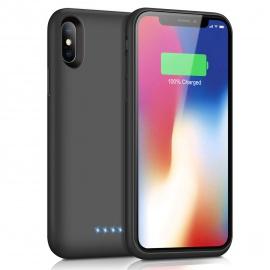 Trswyop Coque Batterie pour iPhone X/XS [6500 mAh], Portable Externe Batterie Puissante Power Bank Chargeur Coque Rechargeabl