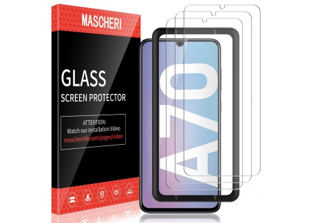 MASCHERI Verre Trempé pour Samsung Galaxy A70, protégé écran [3 pièces] [Cadre de positionnement ] Film ecran de Protection é
