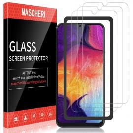 Verre Trempé pour Samsung Galaxy A50, protégé écran [3 pièces] [Cadre de positionnement ] Film ecran de Protection é