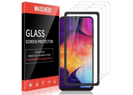 MASCHERI Verre Trempé pour Samsung Galaxy A50, protégé écran [3 pièces] [Cadre de positionnement ] Film ecran de Protection é