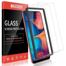 Verre Trempé pour Samsung Galaxy A20, protégé écran [3 pièces] [Cadre de positionnement ] Film ecran de Protection é