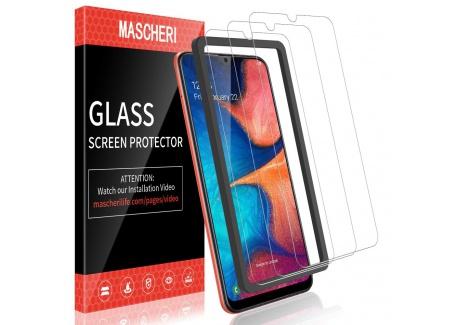 MASCHERI Verre Trempé pour Samsung Galaxy A20, protégé écran [3 pièces] [Cadre de positionnement ] Film ecran de Protection é
