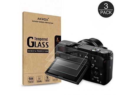 [Lot de 3] Verre Trempé Sony DSLR Alpha A6000 A6300 A5000 NEX-3 NEX-5 NEX-6 NEX-7, Akwox Film de Protection dÉcran Anti Rayu