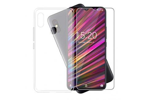 JIENI Coque pour Doogee Y8 Crystal Transparente Silicone TPU Cover Housse Bumper Etui Case + Film Protection écran en Verre t