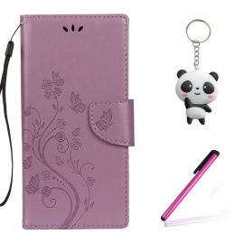 Coque ASUS ZenFone 4 Max ZC520KL Violet Clair 3D Fleurs de Papillons Portefeuille Fermoir Magnétique Supporter Flip Téléphone