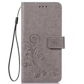 Coque ASUS ZenFone Live  L1  ZA550KL, Portefeuille Étui Motif en Relief, Gris
