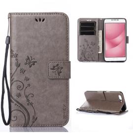 Coque Asus Zenfone 4 Max ZC520KL  5.2 pouce - SMTR® Retro Dlowers Pattern Design Coque PU Cuir Flip Housse Étui Cover Case Wa