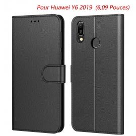 Coque Huawei Y6 2019, Protection Etui Housse en Cuir Portefeuille Livre