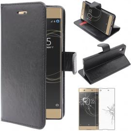 Coque Sony Xperia XA1, XA1 Dual  2017  Etui PU Cuir Housse Portefeuille Porte-Cartes Support Stand, Noir + Film P