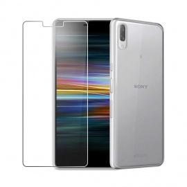Coque pour Sony Xperia L3 + 1 x Film Protection décran en Verre Trempé - Transparent Clear TPU Doux Silicone Etui Bumpe