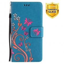 Boloker Coque Compatible Sony Xperia XA [avec Verre Trempé], PU Cuir Flip Housse Étui Rabat Cover Case Wallet Portefeuille Su