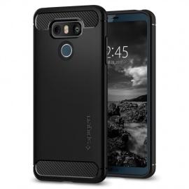 Spigen Coque LG G6, [Rugged Armor] Resistant Anti Choc [Noir] Silicone, Souple, Protection Robuste, Finition Matte, Housse Et
