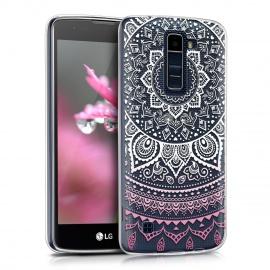 kwmobile Coque LG K8 LTE  2016  - Coque pour LG K8 LTE  2016  - Housse de téléphone en Silicone Rose Clair-Blanc-Transparent
