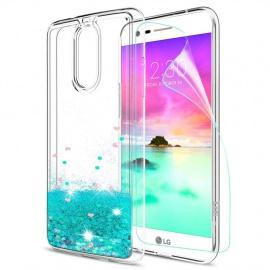 LeYi Coque pour LG K10 2017 Etui avec Film de Protection écran, Fille Personnalisé Liquide Paillette Transparente 3D Silicone