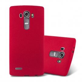 Cadorabo Coque pour LG G4 / G4 Plus en Frost Rouge - Housse Protection Souple en Silicone TPU avec Anti-Choc et Anti-Rayures