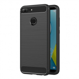Coque Honor 9 Lite, Noir Silicone Coque pour Huawei Honor 9 Lite Housse Fibre de Carbone Etui Case  5,65 Pouces